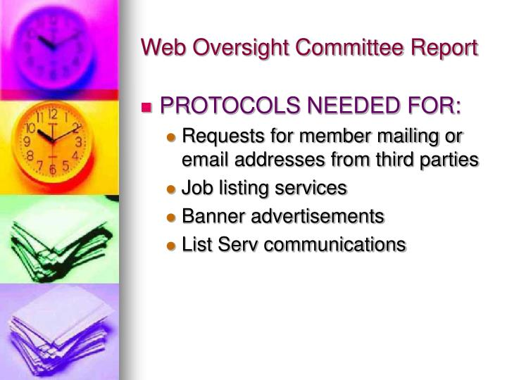 Web oversight committee report2