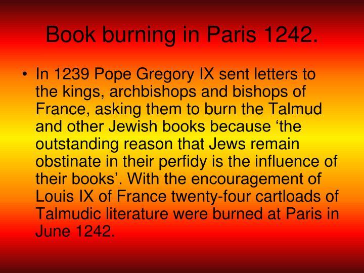 Book burning in Paris 1242.