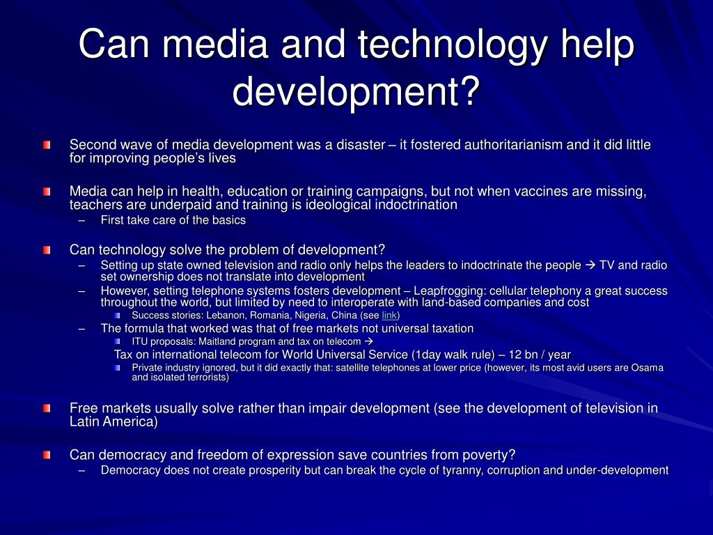 Can media and technology help development?