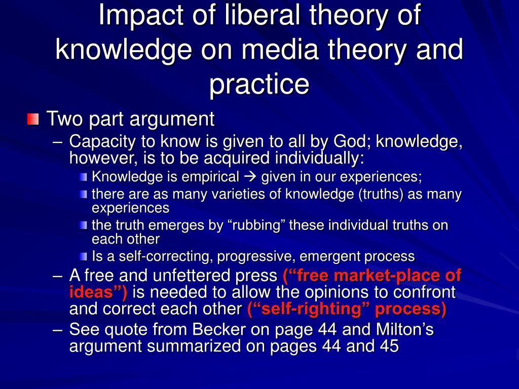 Impact of liberal theory of knowledge on media theory and practice