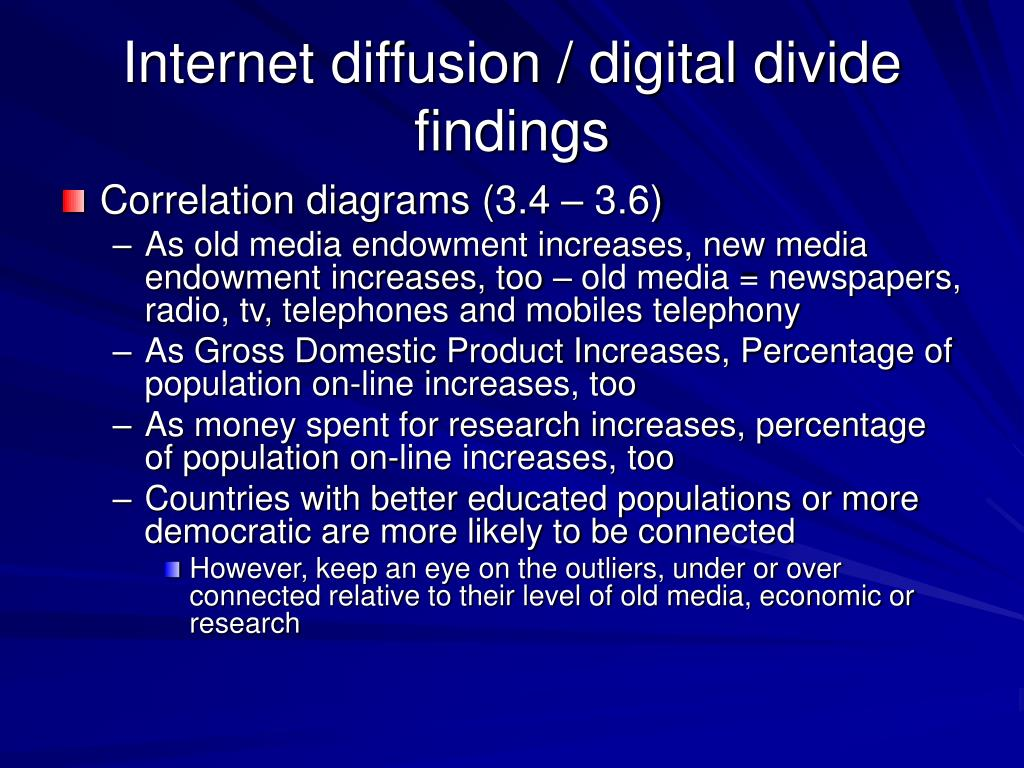 Internet diffusion / digital divide findings