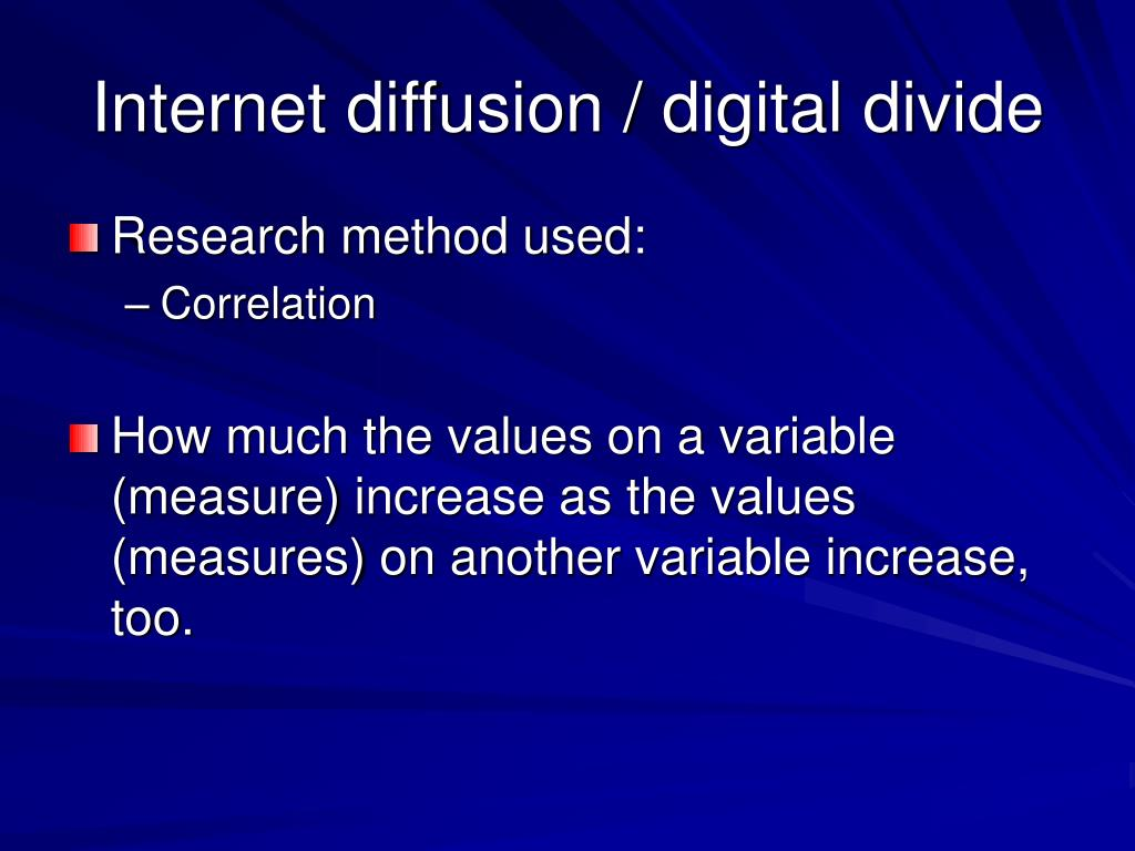 Internet diffusion / digital divide