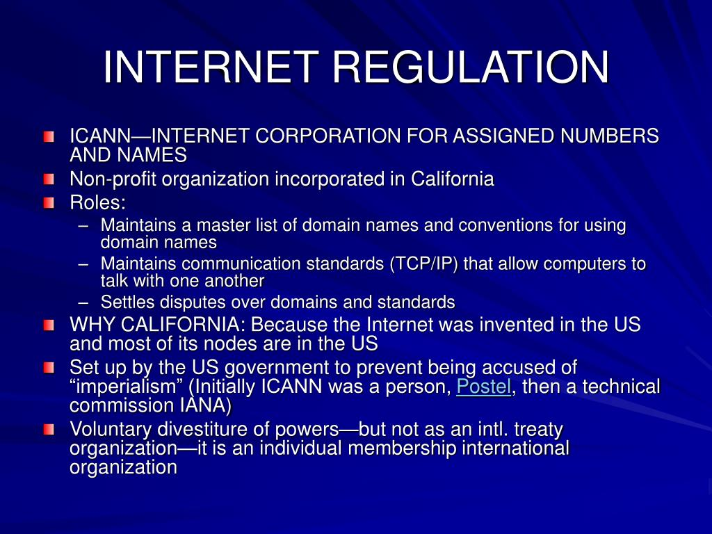 INTERNET REGULATION