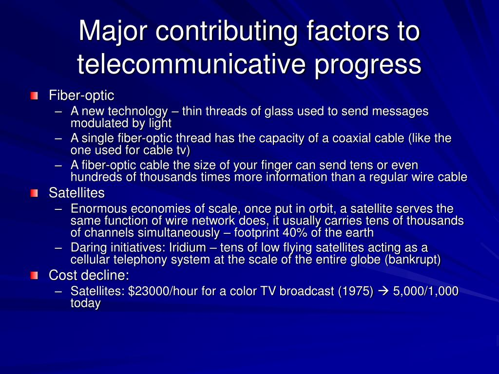 Major contributing factors to telecommunicative progress