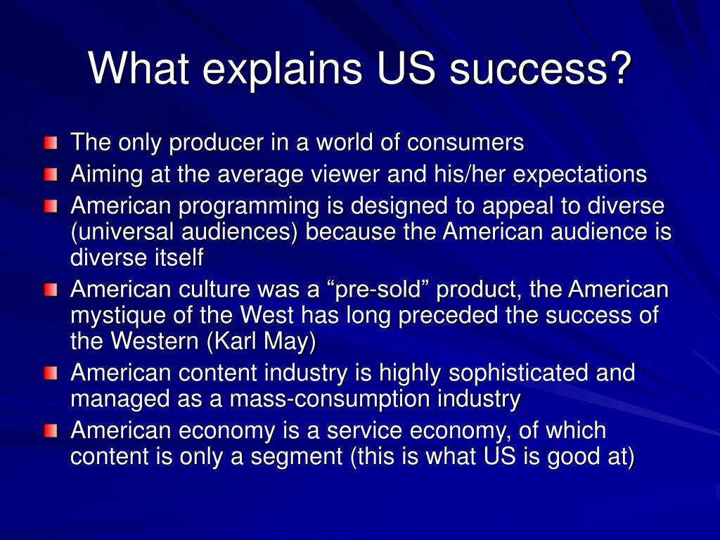 What explains US success?