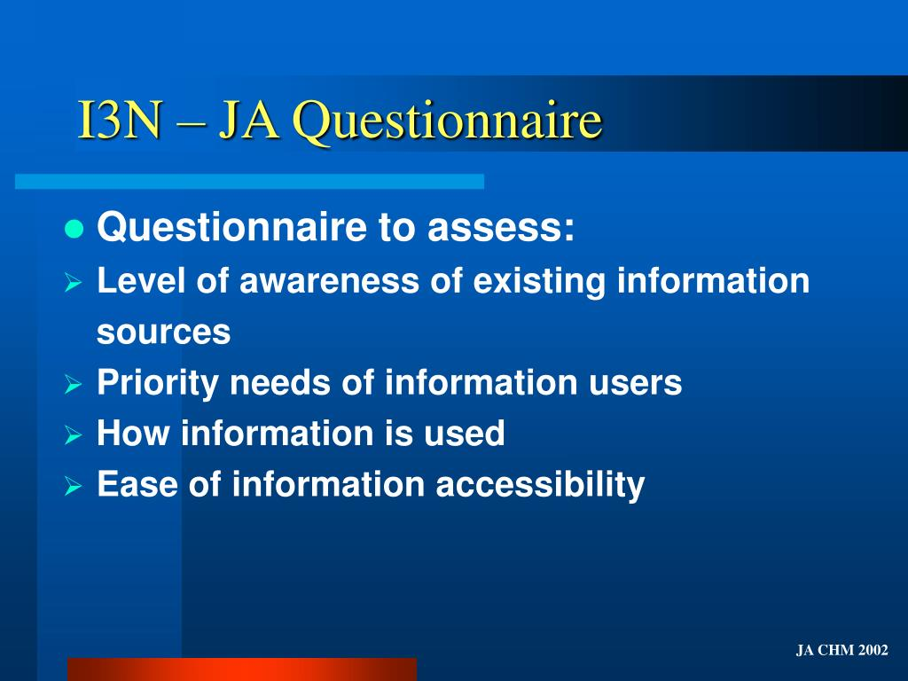 I3N – JA Questionnaire
