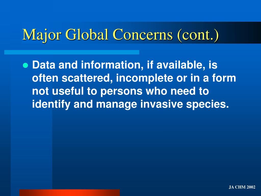 Major Global Concerns (cont.)