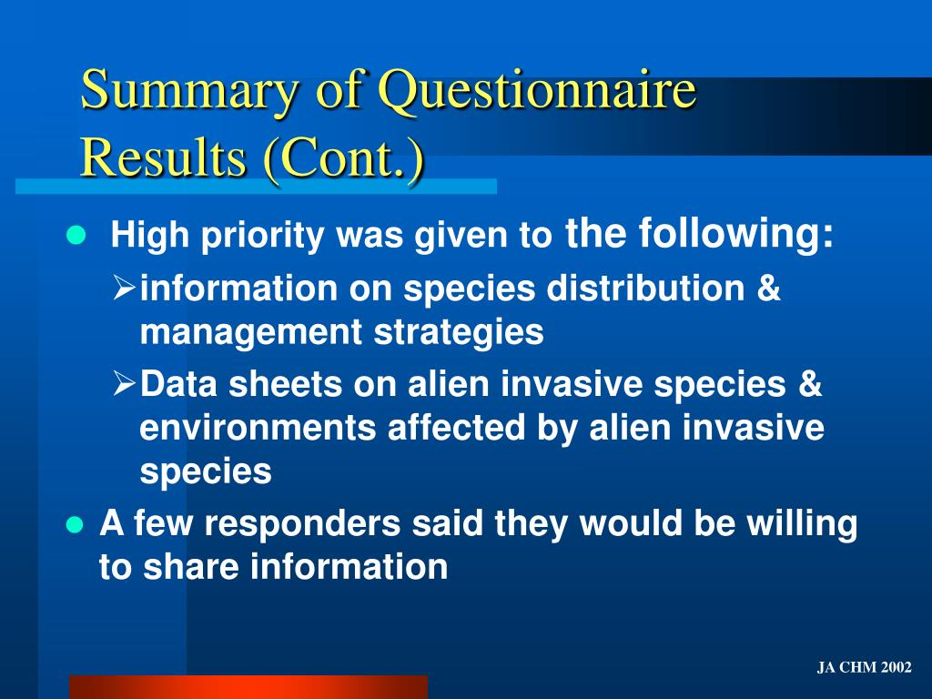 Summary of Questionnaire Results (Cont.)