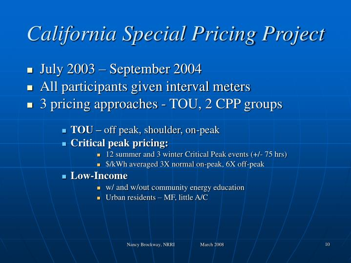 California Special Pricing Project