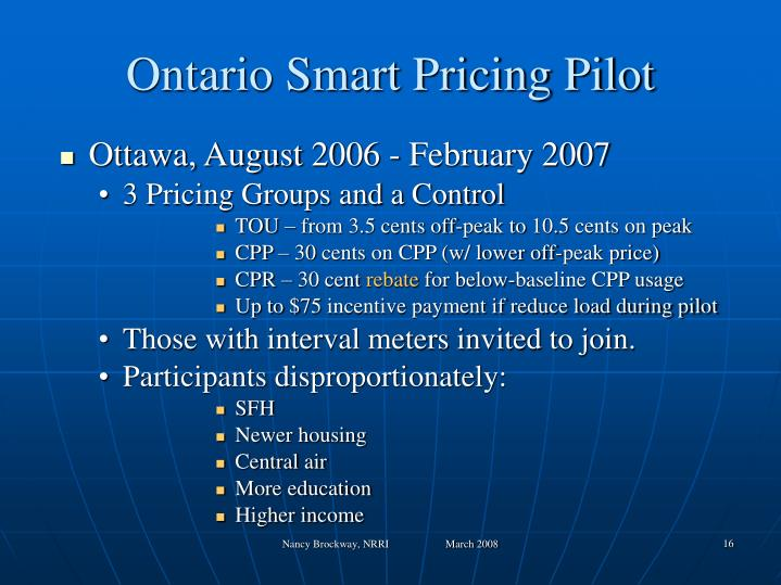 Ontario Smart Pricing Pilot