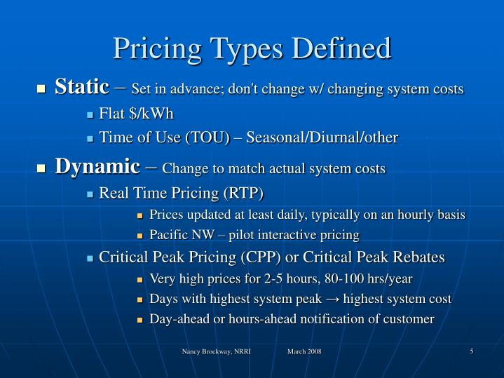 Pricing Types Defined