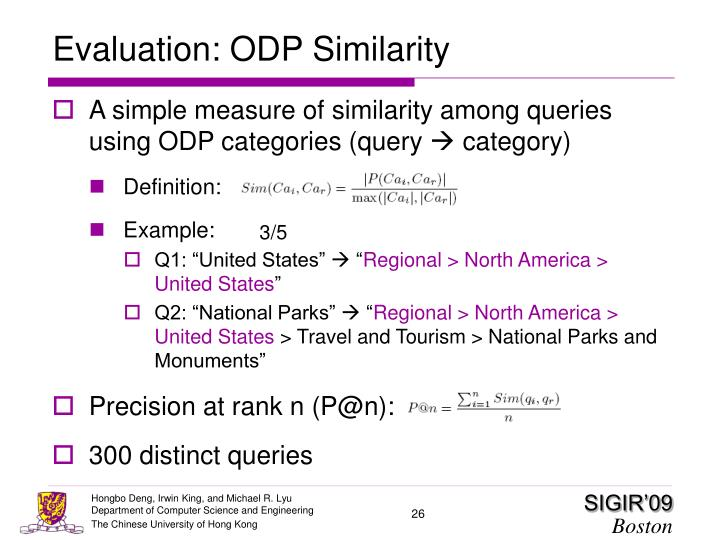 Evaluation: ODP Similarity