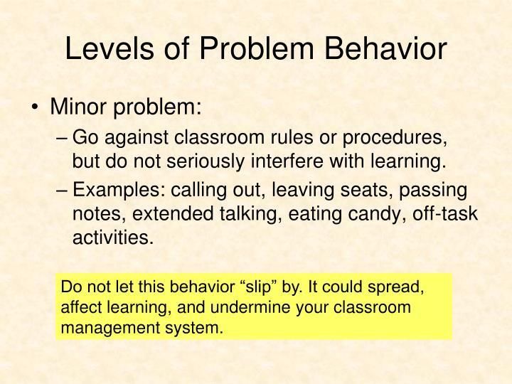 Levels of Problem Behavior