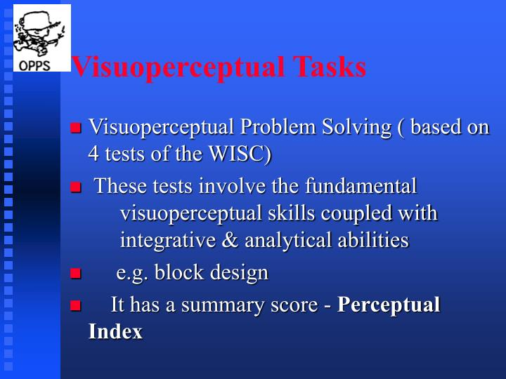 Visuoperceptual Tasks