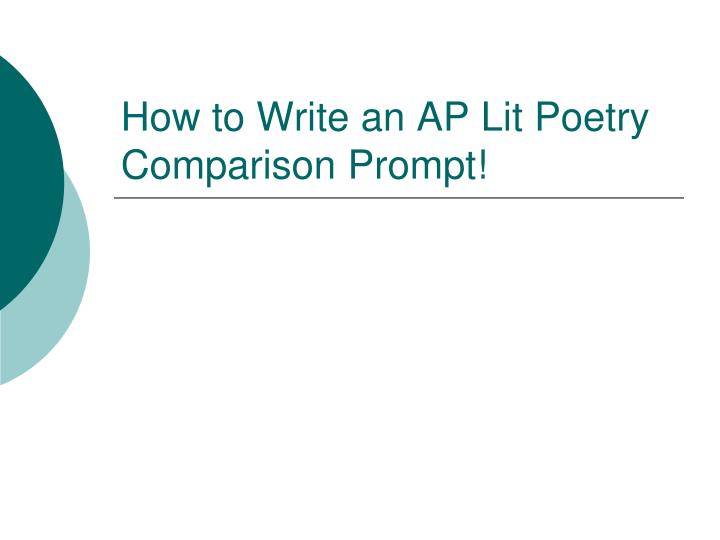 How to Write an AP Lit Poetry Comparison Prompt!