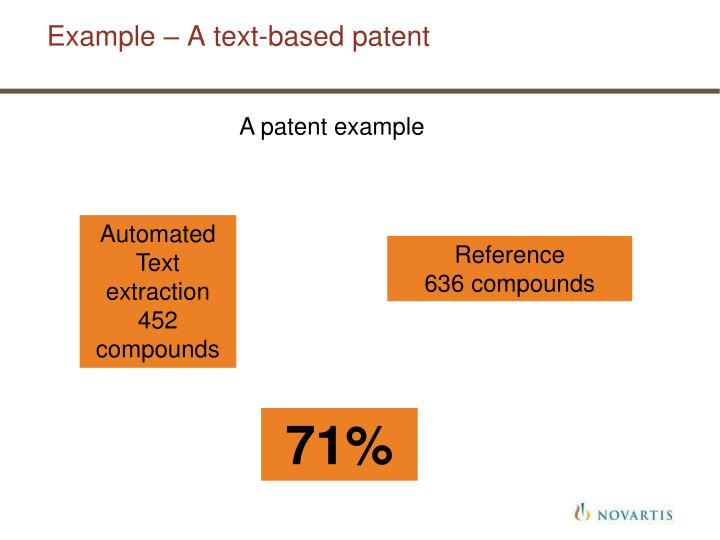 Example – A text-based patent