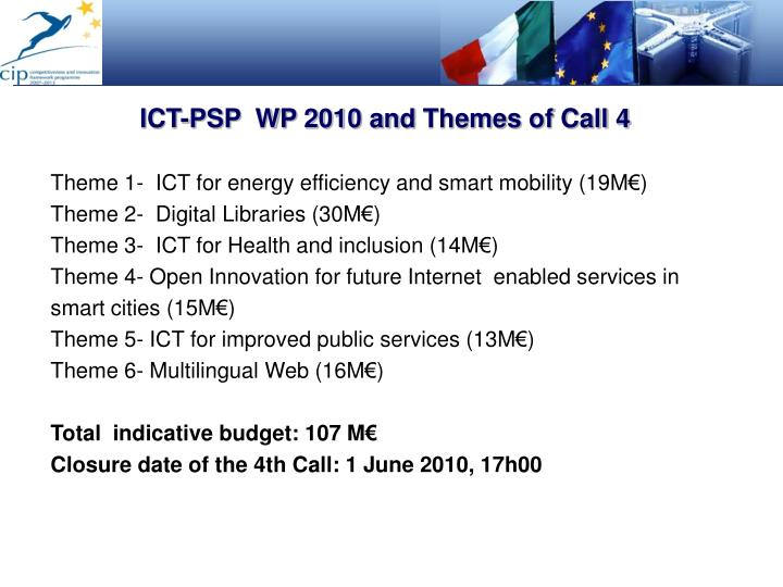 ICT-PSP  WP 2010 and