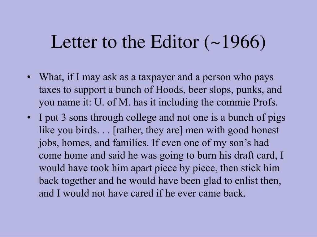 Letter to the Editor (~1966)