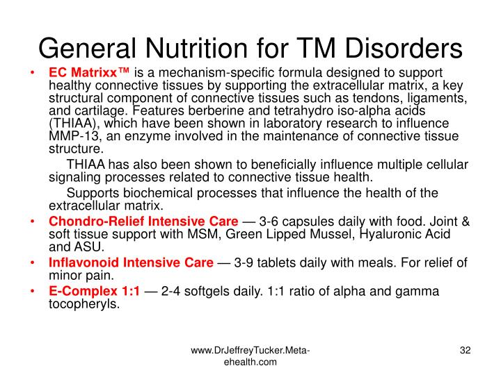 General Nutrition for TM Disorders