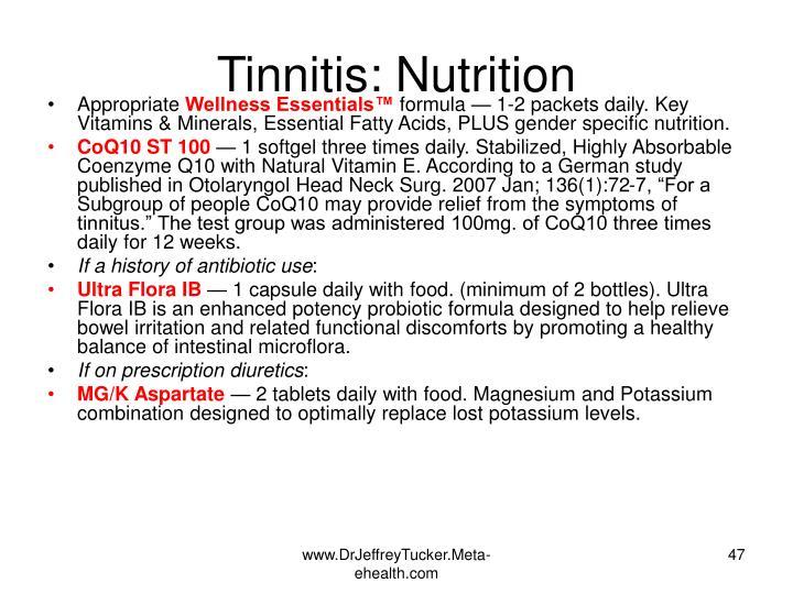 Tinnitis: Nutrition