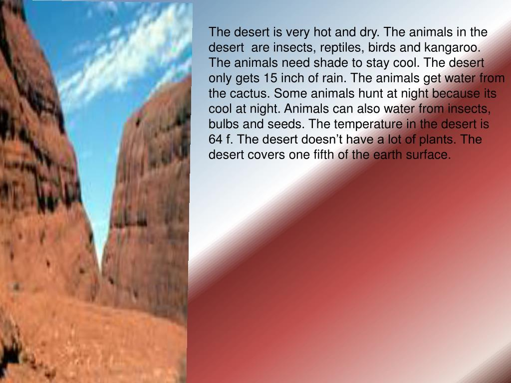 The desert is very hot and dry. The animals in the desert  are insects, reptiles, birds and kangaroo. The animals need shade to stay cool. The desert only gets 15 inch of rain. The animals get water from the cactus. Some animals hunt at night because its cool at night. Animals can also water from insects, bulbs and seeds. The temperature in the desert is
