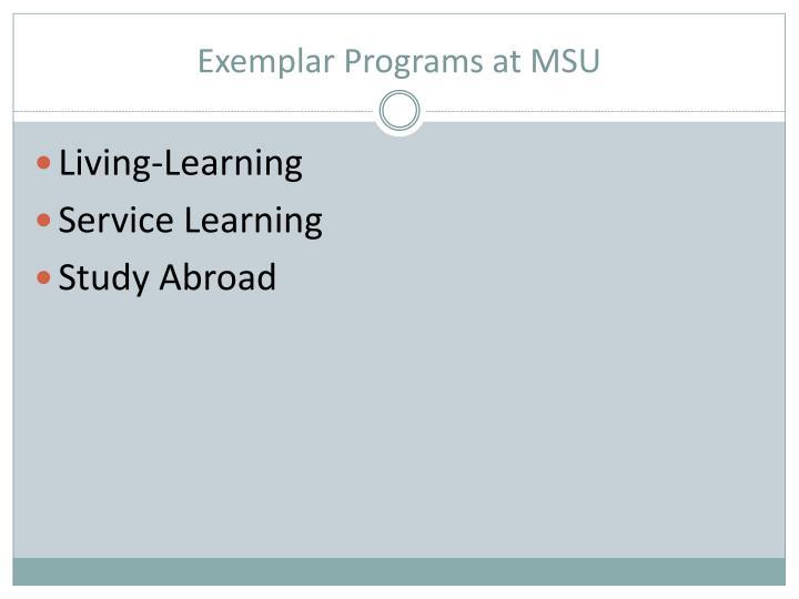 Exemplar Programs at MSU