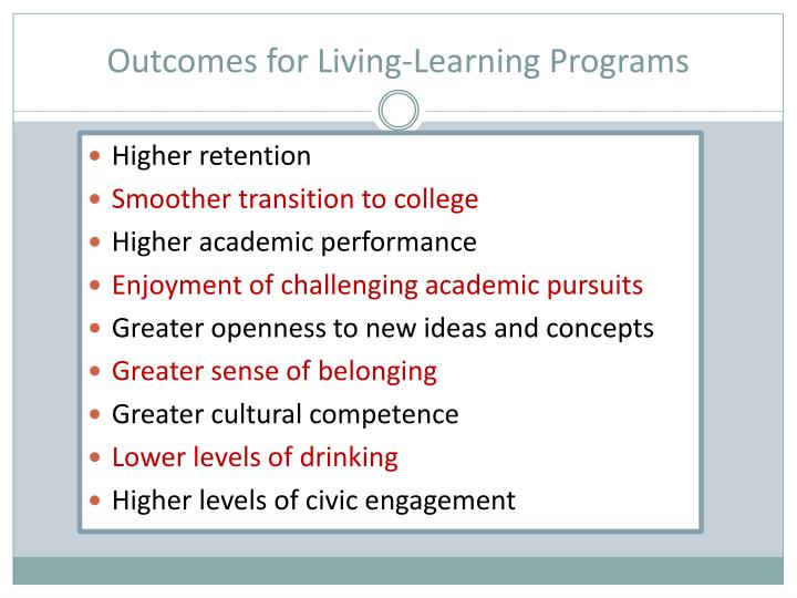 Outcomes for Living-Learning Programs