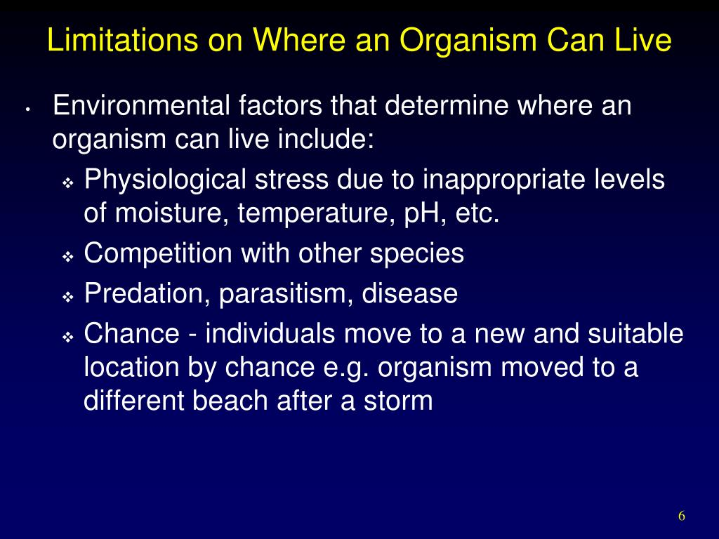 Limitations on Where an Organism Can Live