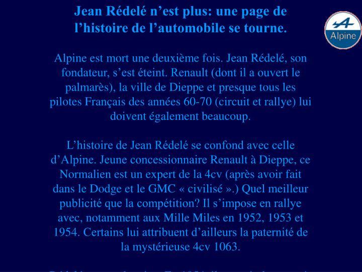 Jean Rédelé n'est plus: une page de l'histoire de l'automobile se tourne