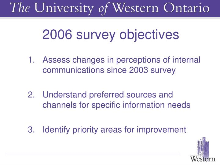 2006 survey objectives