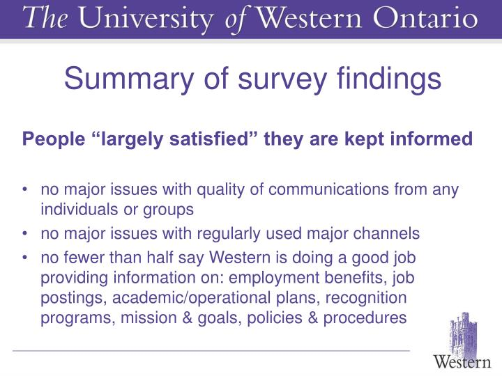 Summary of survey findings