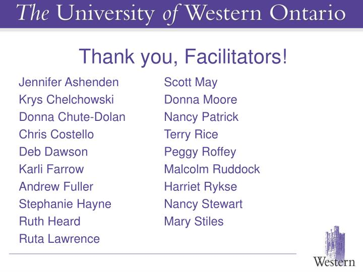 Thank you, Facilitators!