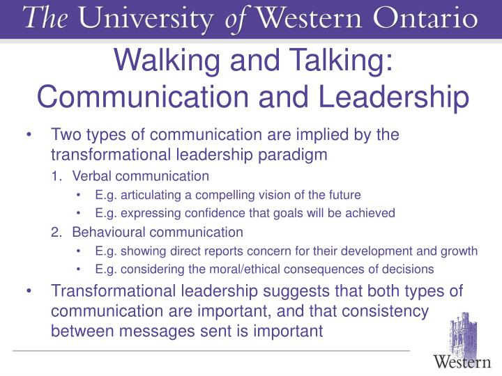Walking and Talking: Communication and Leadership