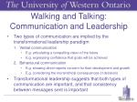 walking and talking communication and leadership