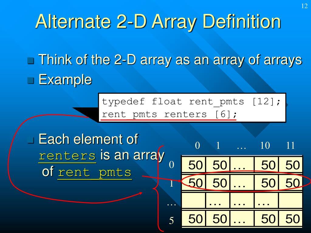 Alternate 2-D Array Definition