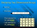 declaring two dimensional arrays