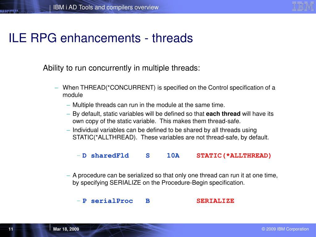ILE RPG enhancements - threads