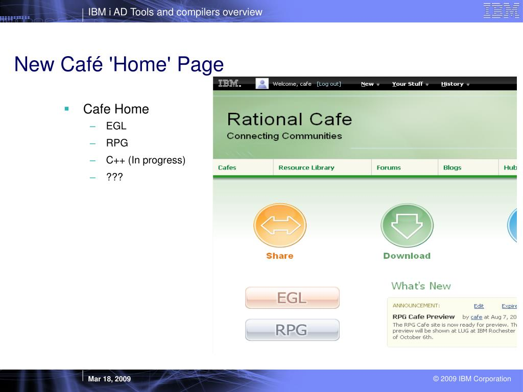 New Café 'Home' Page
