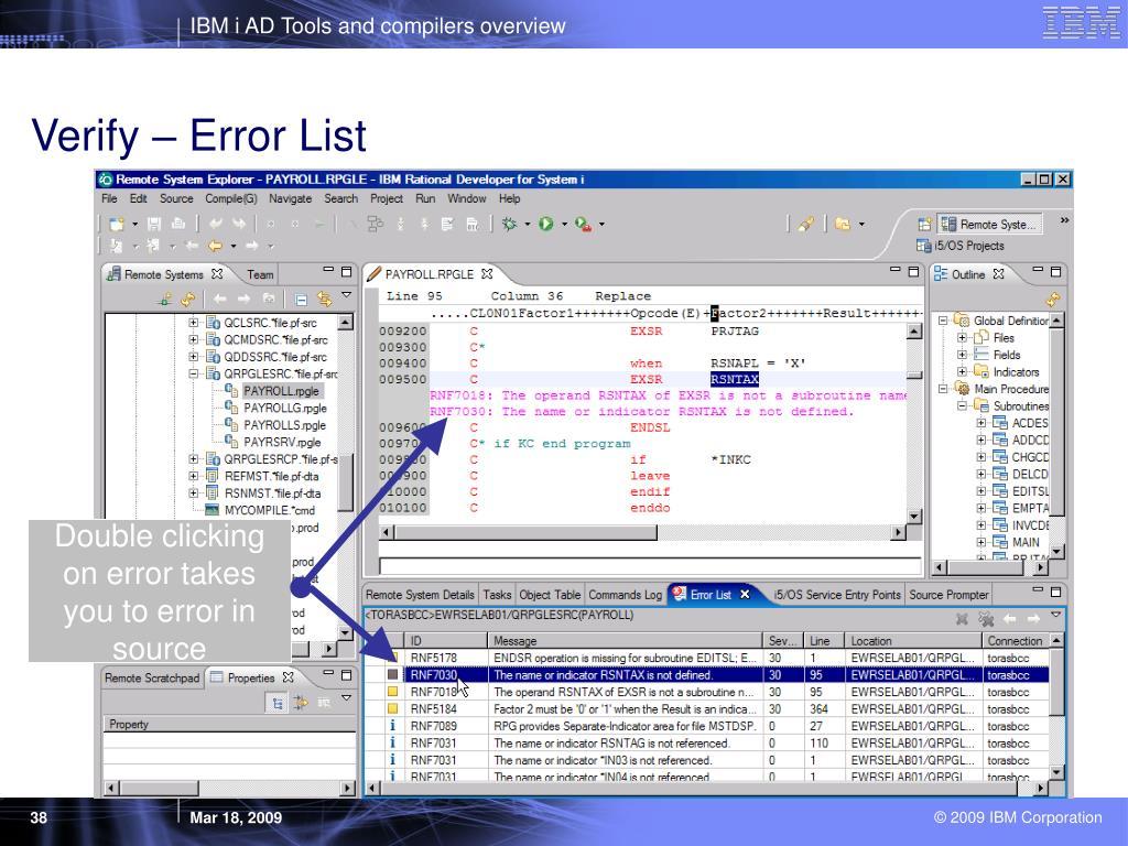 Verify – Error List