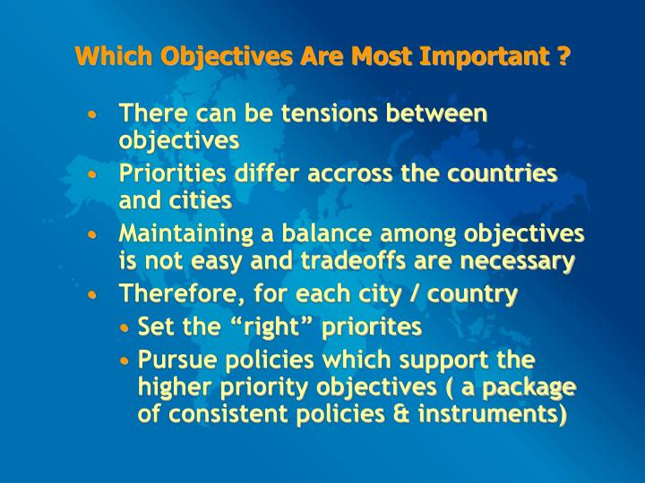 Which Objectives Are Most Important ?