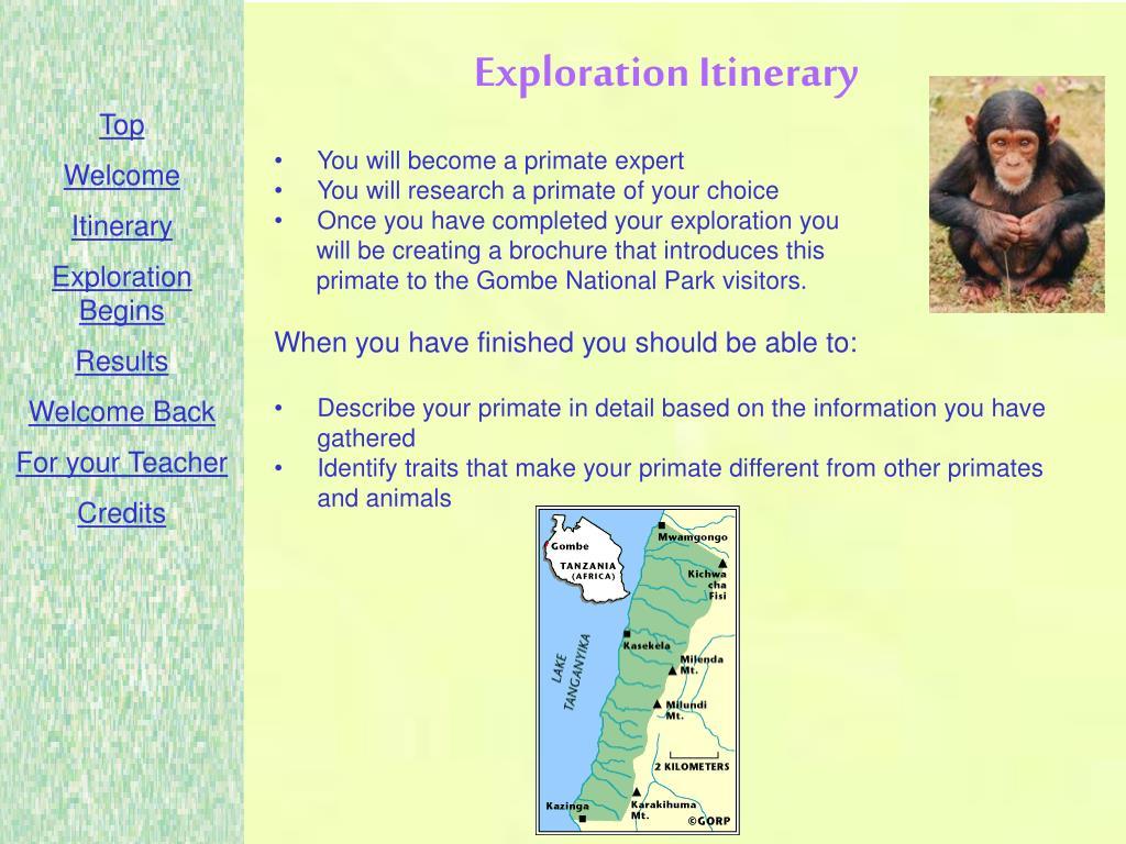 Exploration Itinerary