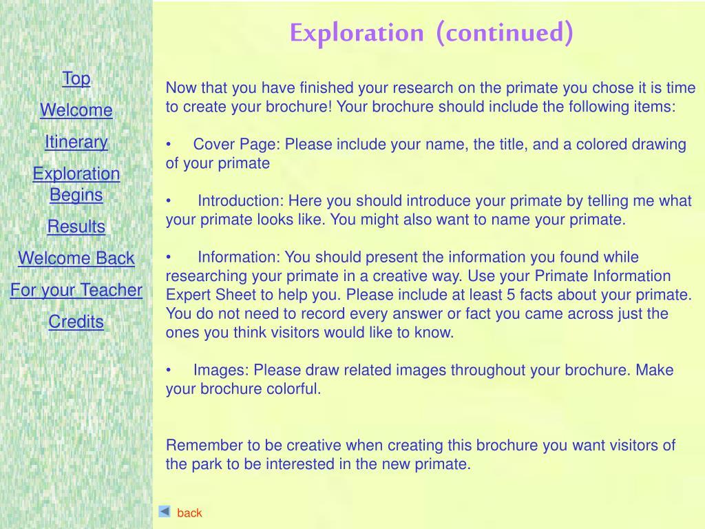 Exploration  (continued)