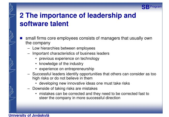 2 The importance of leadership and software talent