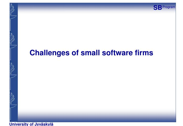Challenges of small software firms