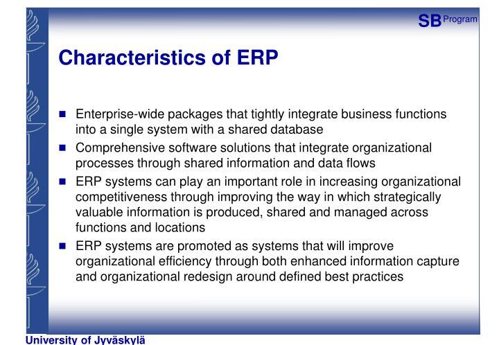 Characteristics of ERP
