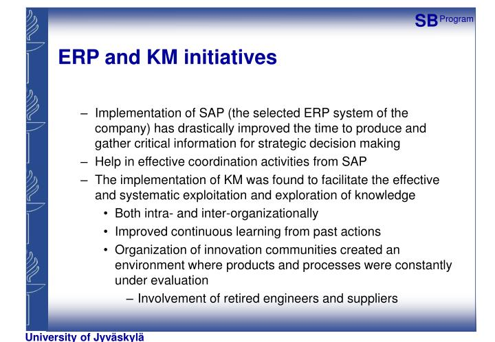 ERP and KM initiatives