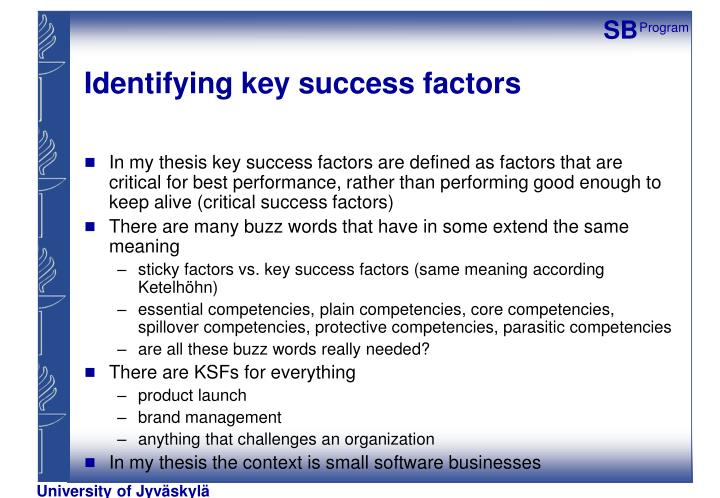 Identifying key success factors