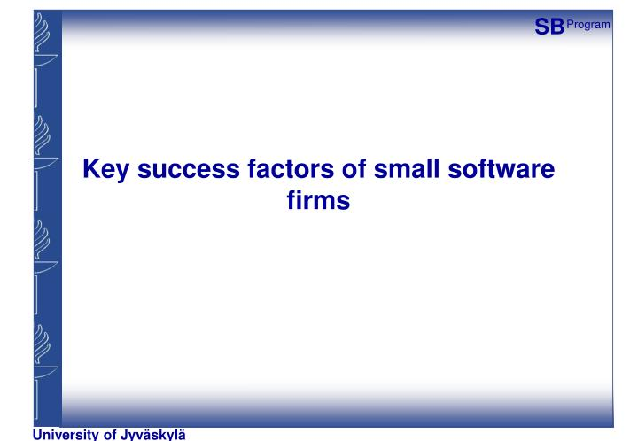 Key success factors of small software firms