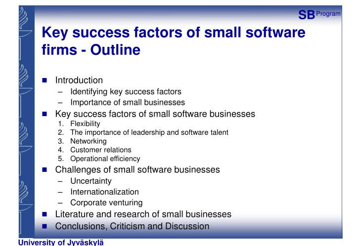 Key success factors of small software firms - Outline
