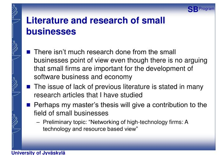Literature and research of small businesses